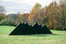 Untitled, view 2, ©1977<br>Precast concrete with integral color. &lt;br&gt;&#xA;54h x 48w x 216d (inches) &lt;br&gt;&#xA;Photo by unknown &lt;br&gt;&#xA;Private commission, Gladwyne, Pennsylvania